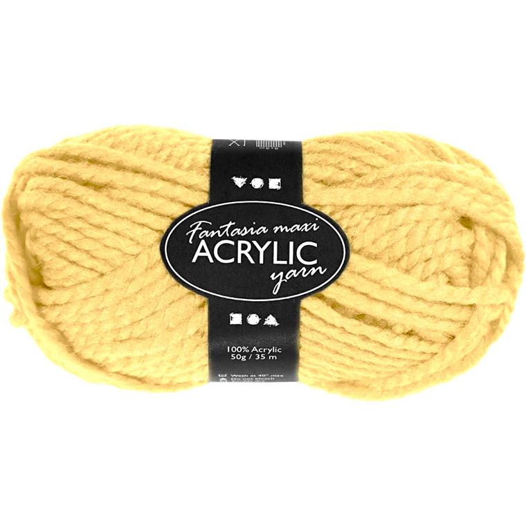 Fantasia Akrylgarn, L: 35 m, lys gul, Maxi, 50g