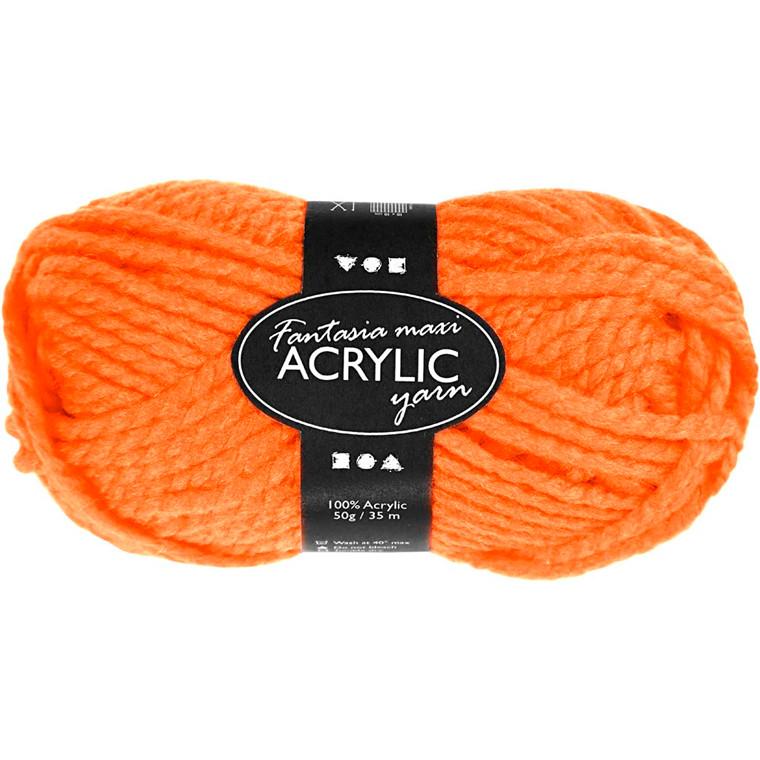 Fantasia Akrylgarn, L: 35 m, neon orange, Maxi, 50g