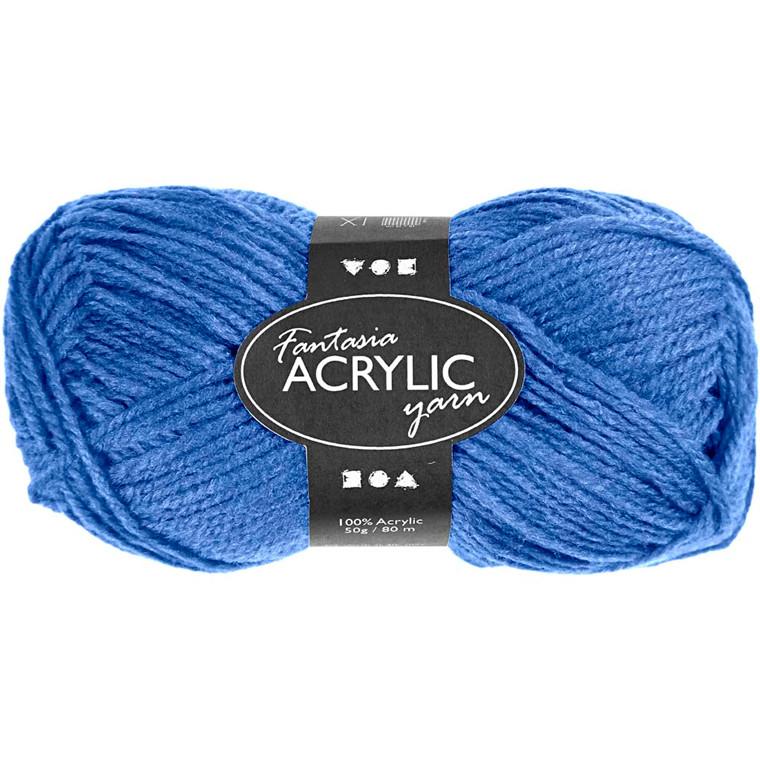 Fantasia Akrylgarn, L: 80 m, blå, 50g