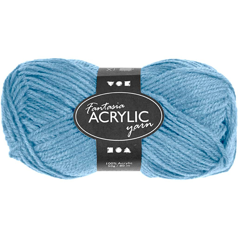 Fantasia Akrylgarn, L: 80 m, lys blå, 50g