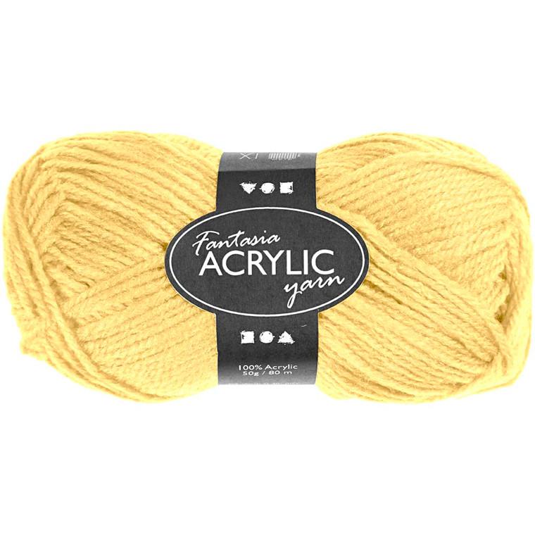 Fantasia Akrylgarn, L: 80 m, lys gul, 50g
