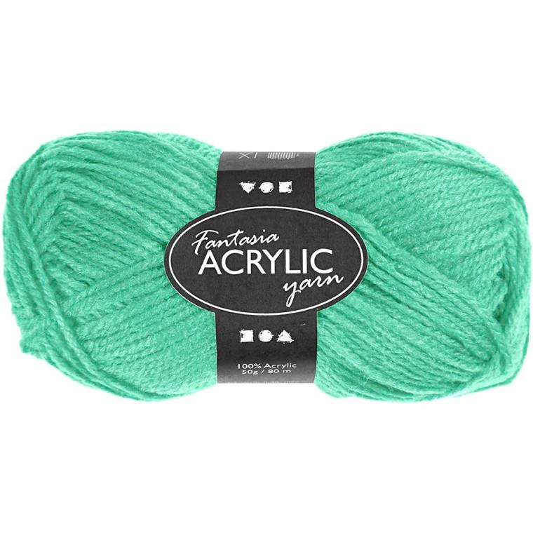 Fantasia Akrylgarn, L: 80 m, mint grøn, 50g