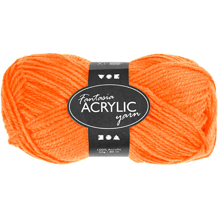 Fantasia Akrylgarn, L: 80 m, neon orange, 50g
