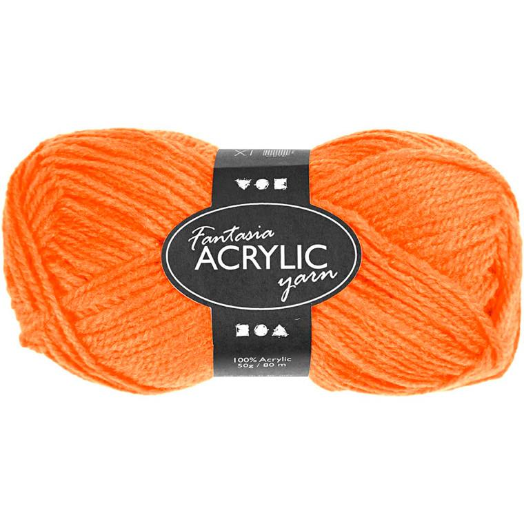 Fantasia Akrylgarn Længde: 80 meter neon orange - 50 gram