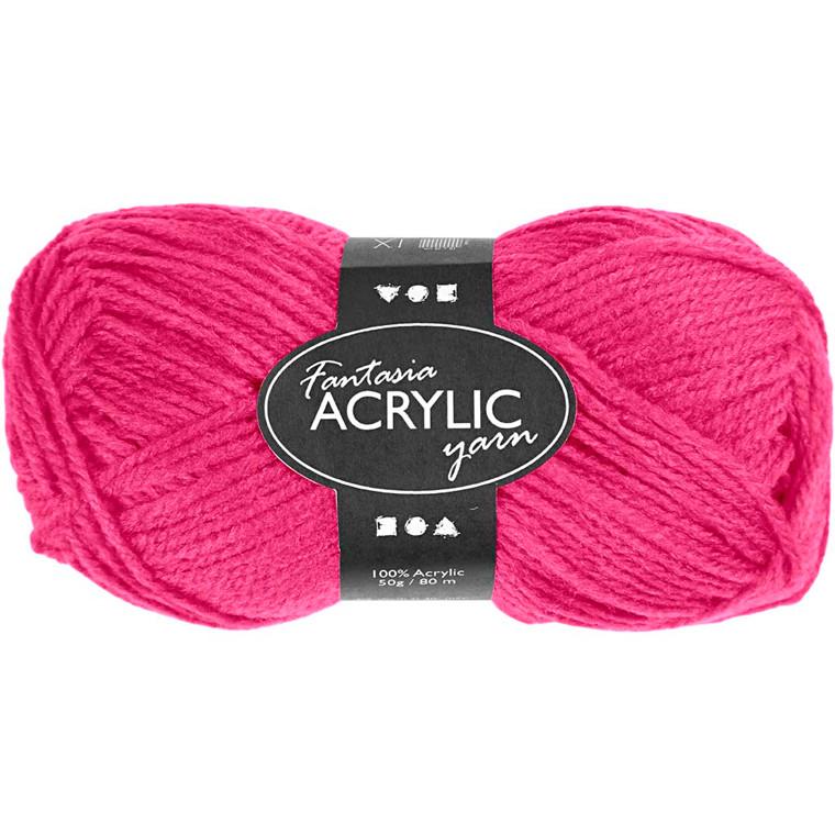 Fantasia Akrylgarn, L: 80 m, neon pink, 50g