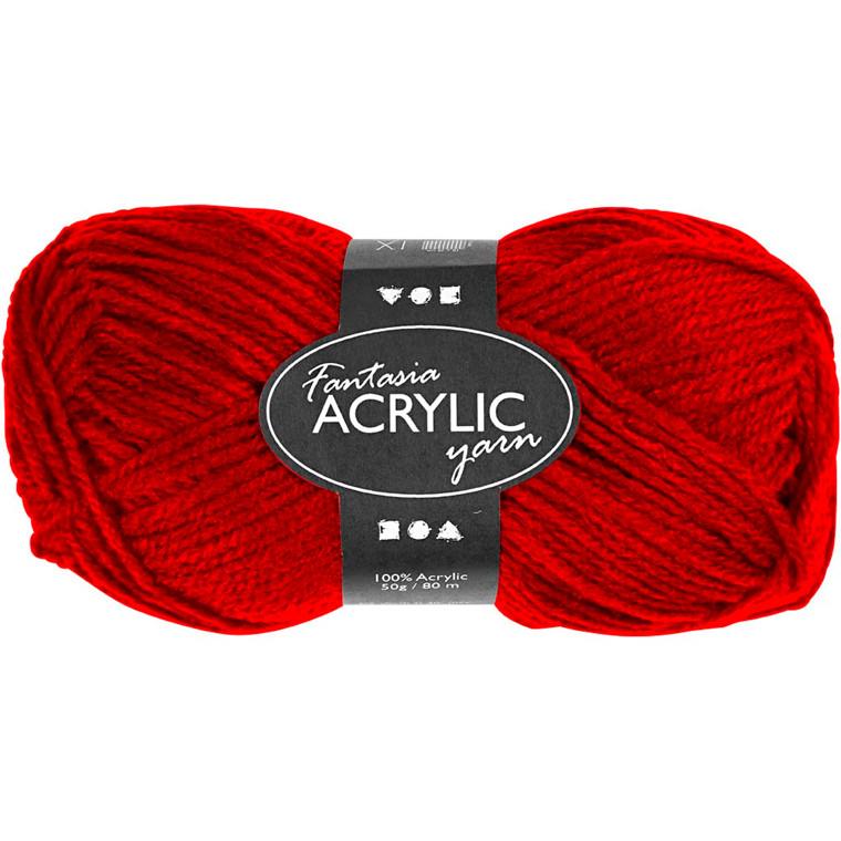 Fantasia Akrylgarn, L: 80 m, rød, 50g