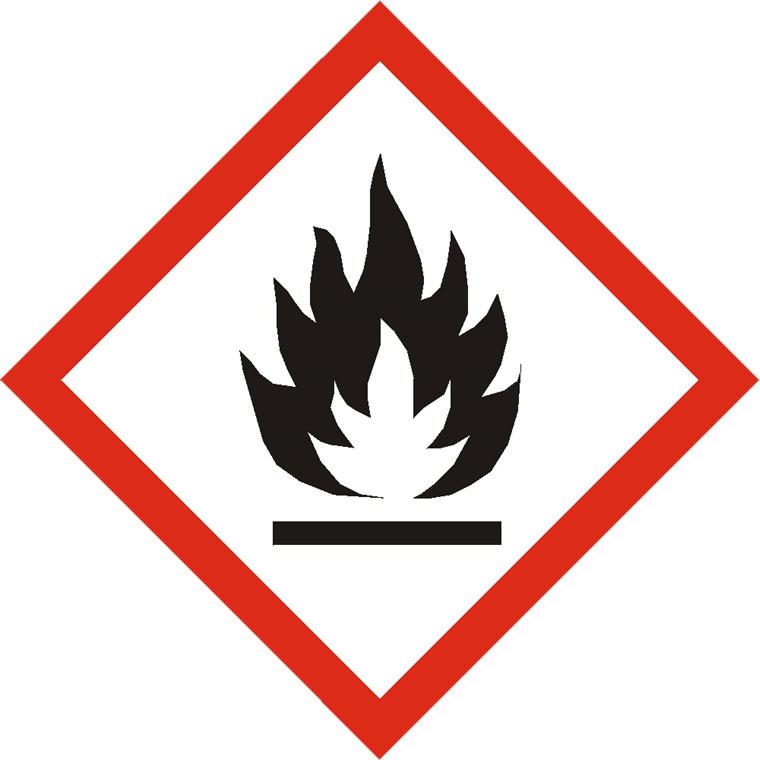 Fare etiket -  Brandfarlig symbol rød/ hvid 100 x 100 mm - 250 stk
