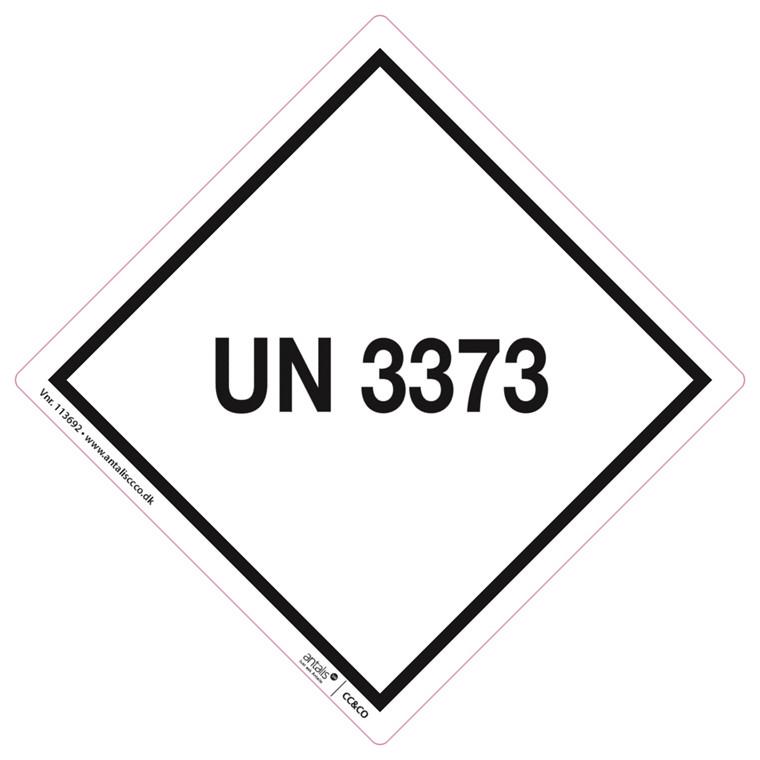 Fare etiket - UN3373 hvid-sort 100 x 100 mm - 250 stk