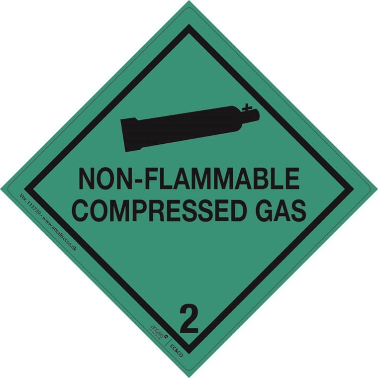 Fare etiketter - Klasse 2.2 grøn og sort 100 x 100 mm -  250 stk