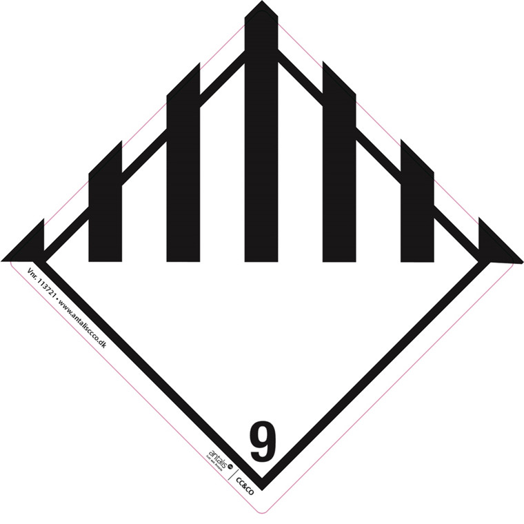 Fareetiket -  Klasse 9 hvid/sort 100 x 100 mm - 250 stk