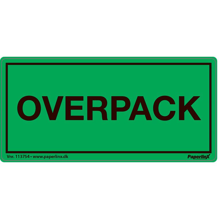 Fareetiket - med tryk Overpack grøn og sort 50 x 100 mm - 250 stk