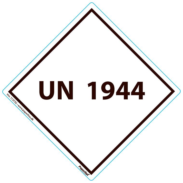 Fareetiket - UN1944 hvid og sort 100 x 100 mm - 250 stk