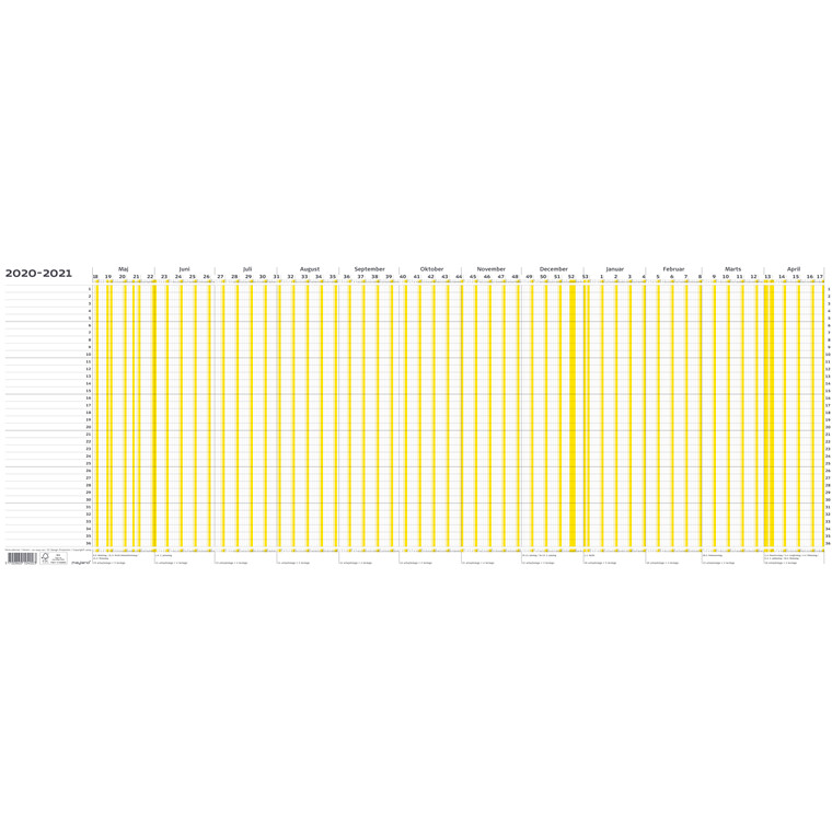 Ferieplanner falset t/A4 100x30cm 2020/21 21 1040 00