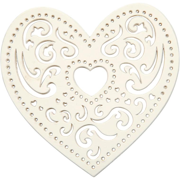 Filigranhjerte, B: 7,5 cm, 250 g, hvid, hjerte, 18stk.