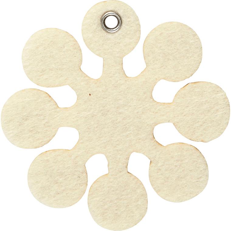Filt figur størrelse 7 x 7 cm tykkelse 3 mm råhvid snefnug - 5 stk.