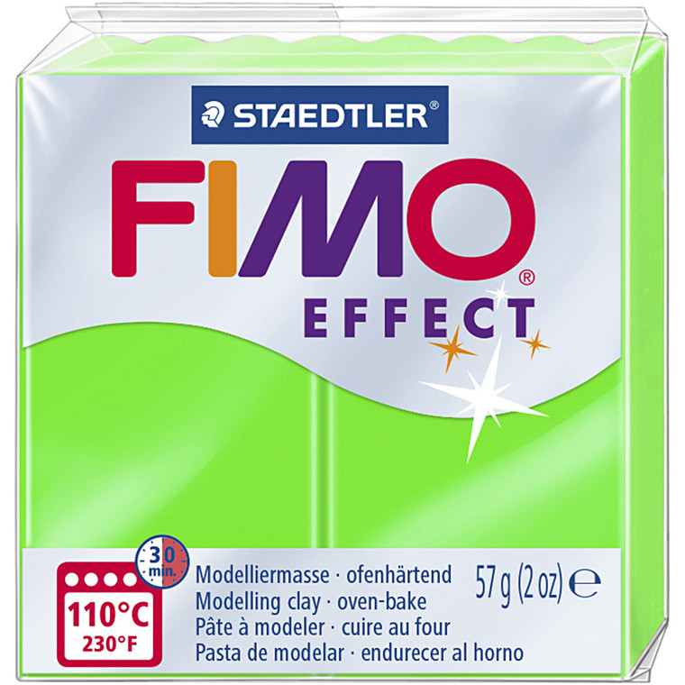 FIMO ler Effect, neon grøn, 57g