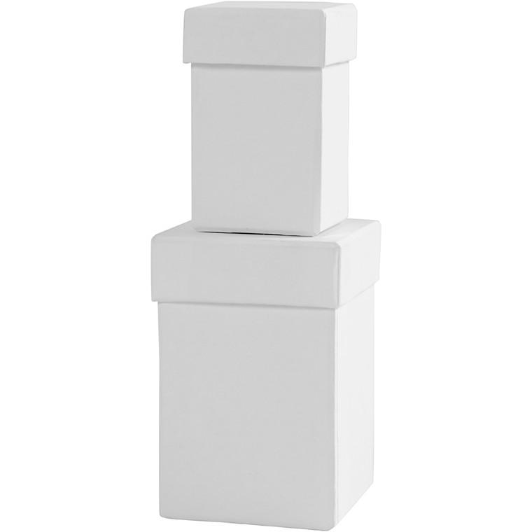 Firkantede æsker, str. 4,5+6 cm, H: 7+9 cm, hvid, 2stk.