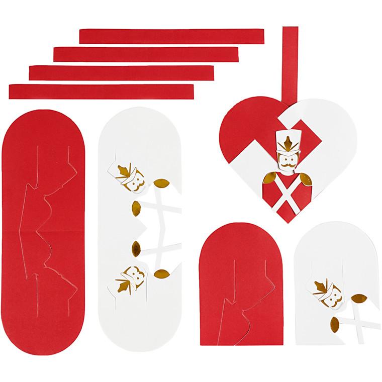 Flettede julehjerter hvid guld rød størrelse 12,5 x 11,5 cm 120 gram nøddeknækker - 8 sæt