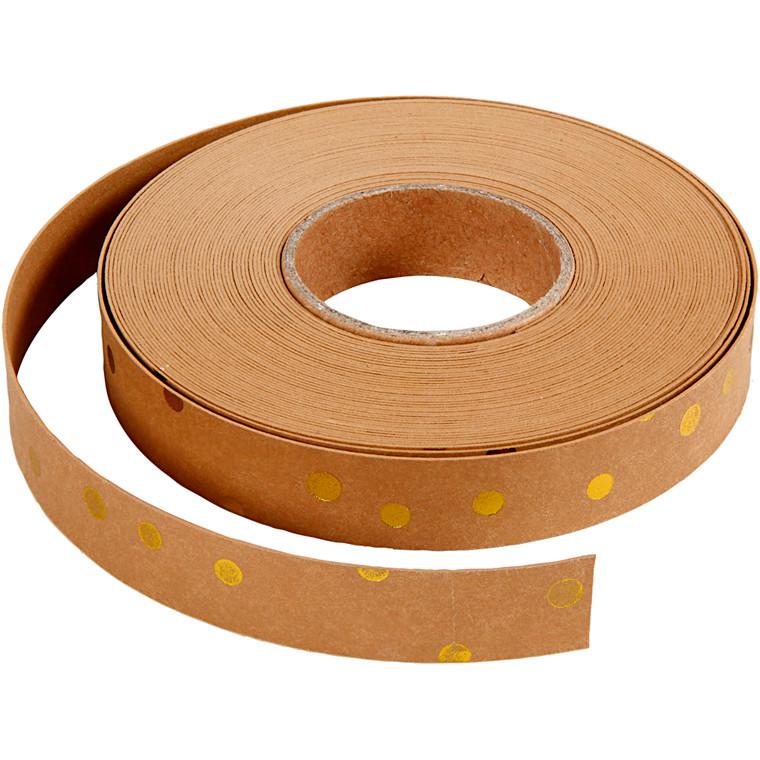 Flettestrimler bredde 15 mm tykkelse 0,55 mm lys brun guldprint | 10 meter