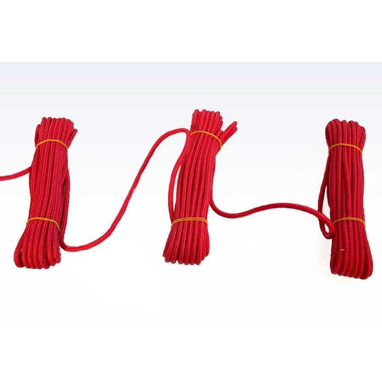 Flisesnor i rød med hjerte - 6 mm 10 x 10 meter