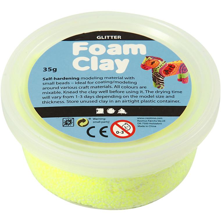 Foam Clay® gul glitter - 35 gram
