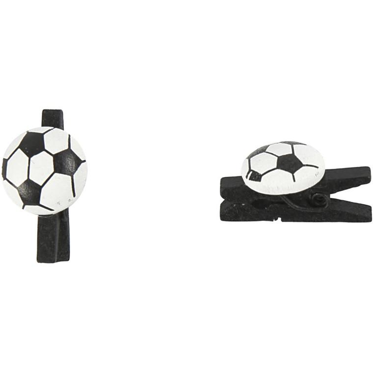 Fodboldklemme, str. 14x25 mm, tykkelse 12 mm, sort, 10stk.