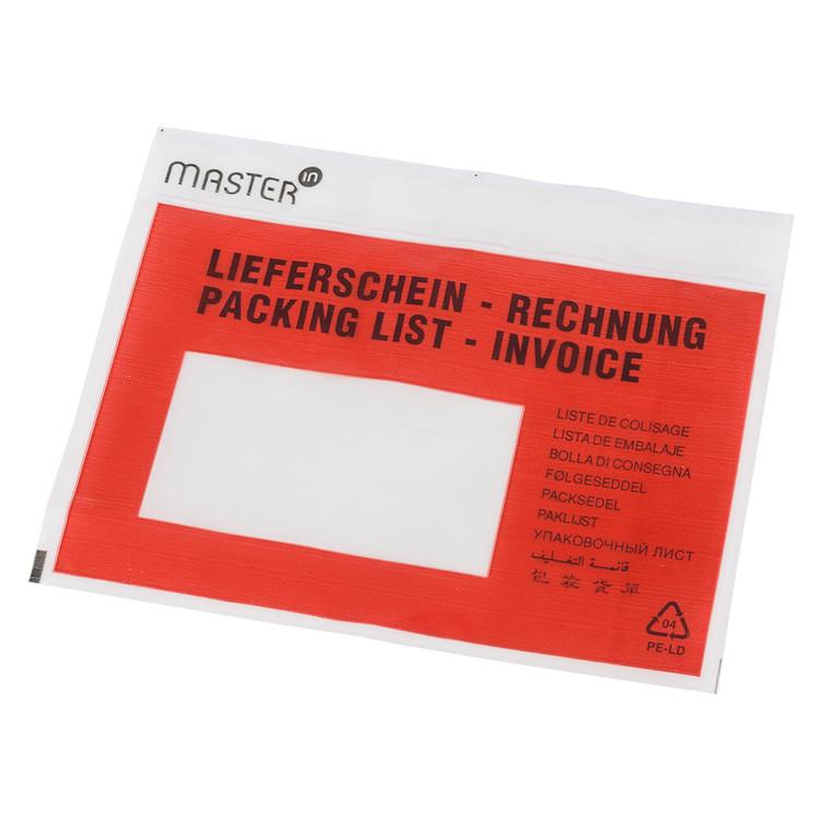 Følgeseddelslomme Master'In 175X117mm C6 rød m/tryk 1000stk/kar