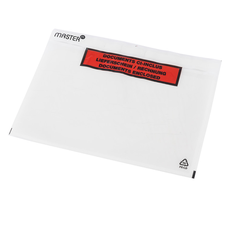Følgeseddelslomme Master'In 240X162mm C5 transparent m/tryk 1000stk/kar