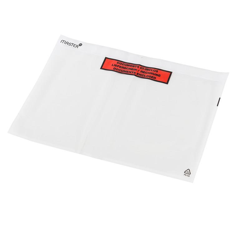 Følgeseddelslomme Master'In 340X227mm C4 transparent m/tryk 500stk/kar
