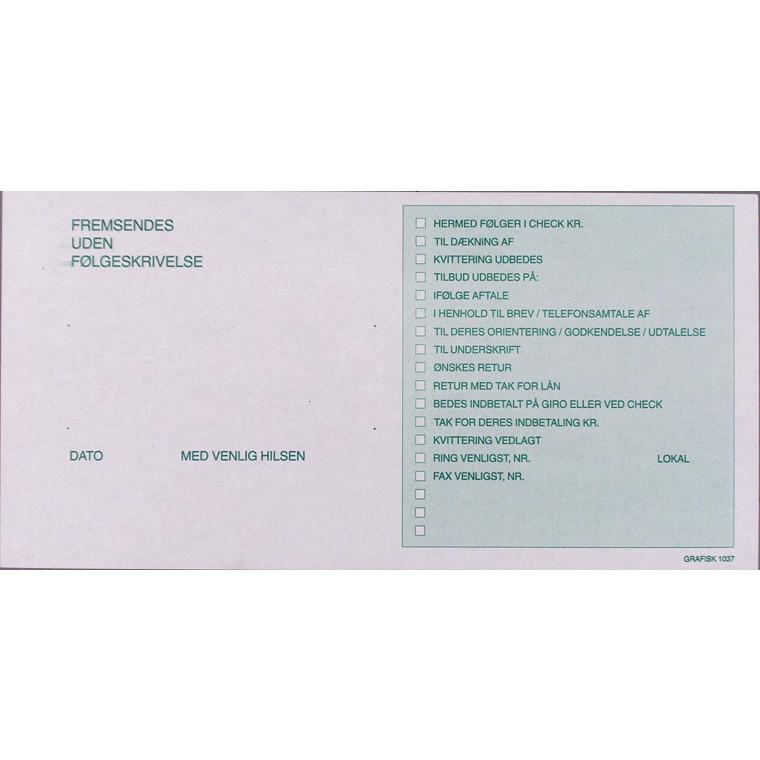 Følgesedler grafisk 10,5 x 21 cm 1037 - 100 ark