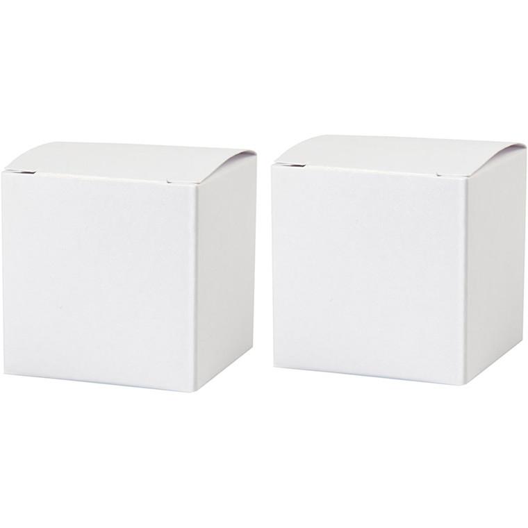 Fold-selv-æske str. 5,5 x 5,5 cm 120 gram hvid | 10 stk.