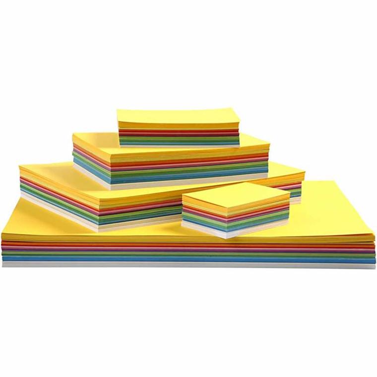 Forårskarton, A2+A3+A4+A5+A6 , 180 g, ass. farver, 1800ass. ark
