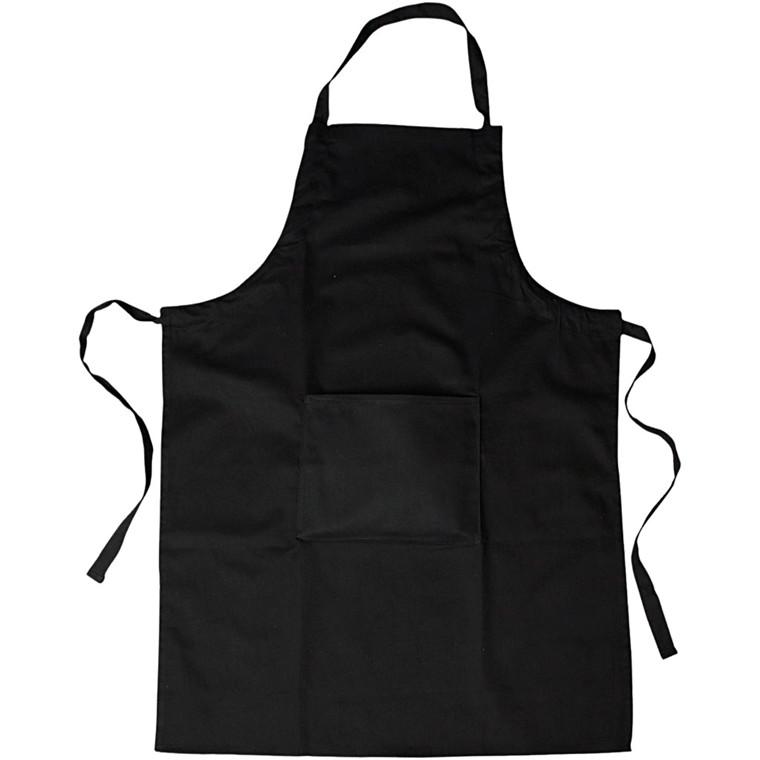 Forklæde sort med lomme - str. 66 x 89 cm