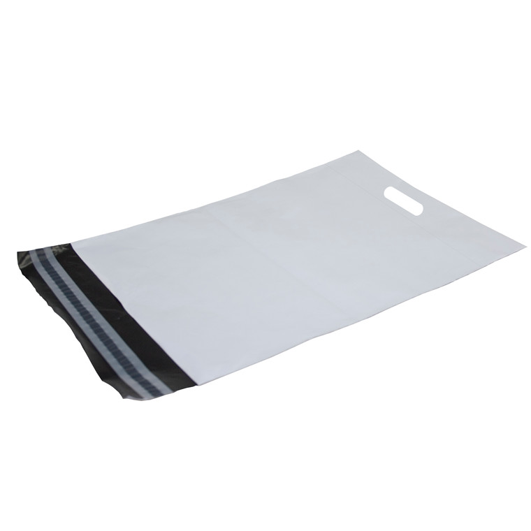 Forsendelsesposer PE hvid 400x600mm m/håndtag 100st/pak