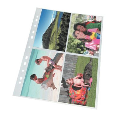 Fotolommer 10 x 15 cm - Esselte A4 glasklar plastlomme med 8 rum - 25 stk i pakke