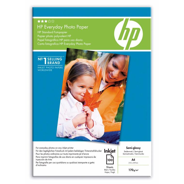 Fotopapir HP Everyday Semi- Glossy Q2510A 100ark/pk A4
