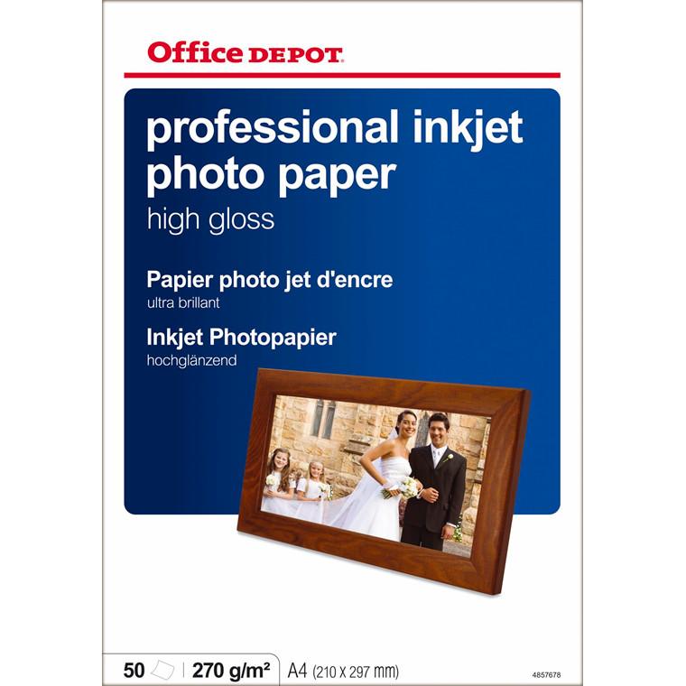 Fotopapir - inkjet OD 280 gram A4 High Gloss - 50 ark