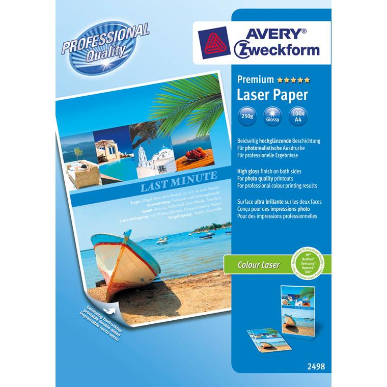 Fotopapir - Premium A4 250 gram Glossy til farvelaser - 100 ark