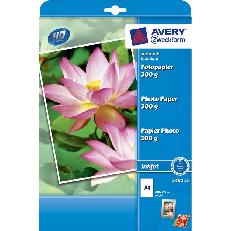 Fotopapir A4 - Premium plus 300 gram glossy til inkjet - 20 ark