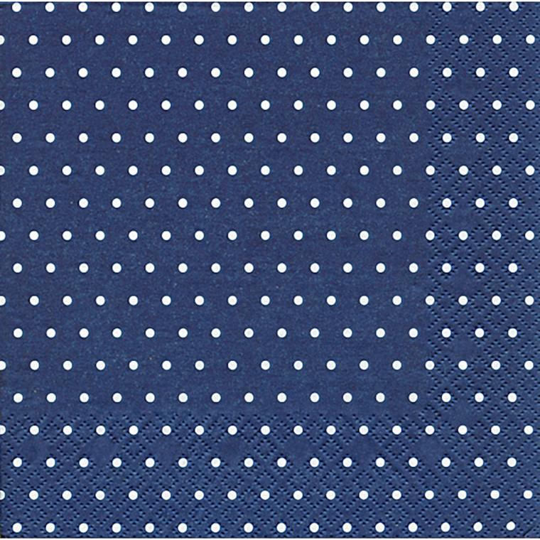 Frokostserviet, 3-lags, 1/4 fold, design, blå og hvid, 33cm x 33cm
