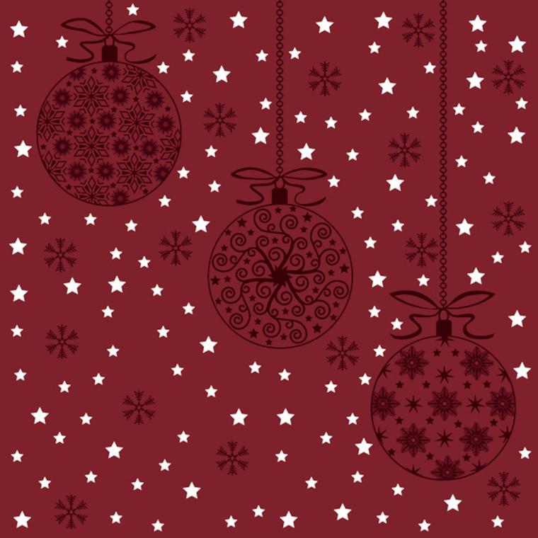 Frokostserviet, Abena Gastro-Line, Red Christmas , 3-lags, 1/4 fold, 33x33cm, flerfarvet, papir