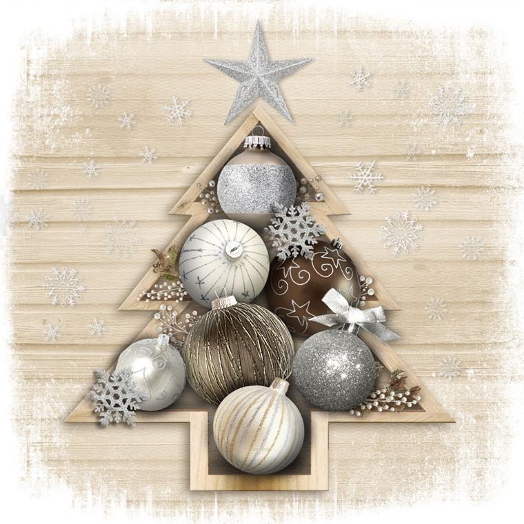 Frokostserviet, Abena Gastro-Line, Trendy Christmas, 3-lags, 1/4 fold, 33x33cm, flerfarvet, papir