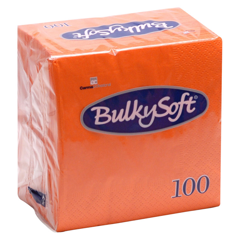 Frokostserviet, Bulkysoft, 2-lags, 1/4 fold, orange, papir, 33cm x 33cm