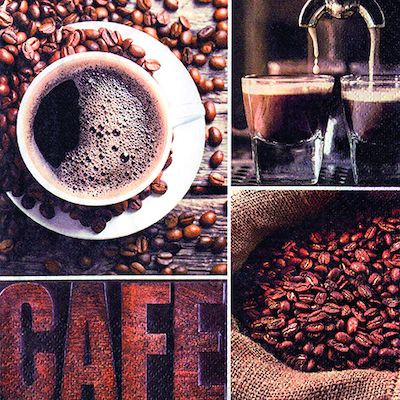 Frokostserviet, Harmony, 3-lags, 1/4 fold, design, mørkebrun/brun/hvid, 100% nyfiber, 24cm x 24cm