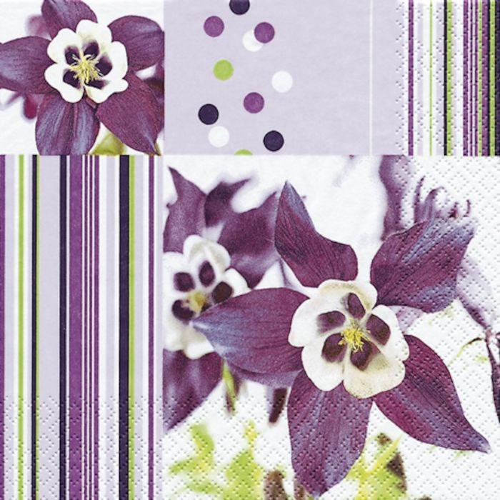 Frokostserviet, Home Fashion, 3-lags, 1/4 fold, design, lilla, papir, 33cm x 33cm