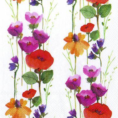 Frokostserviet, Jewels, 3-lags, 1/4 fold, design, blomster, 100% nyfiber, 33cm x 33cm