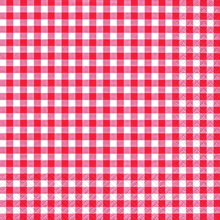 Frokostserviet, Karo, 3-lags, 1/4 fold, design, rød, hvid, 33cm x 33cm
