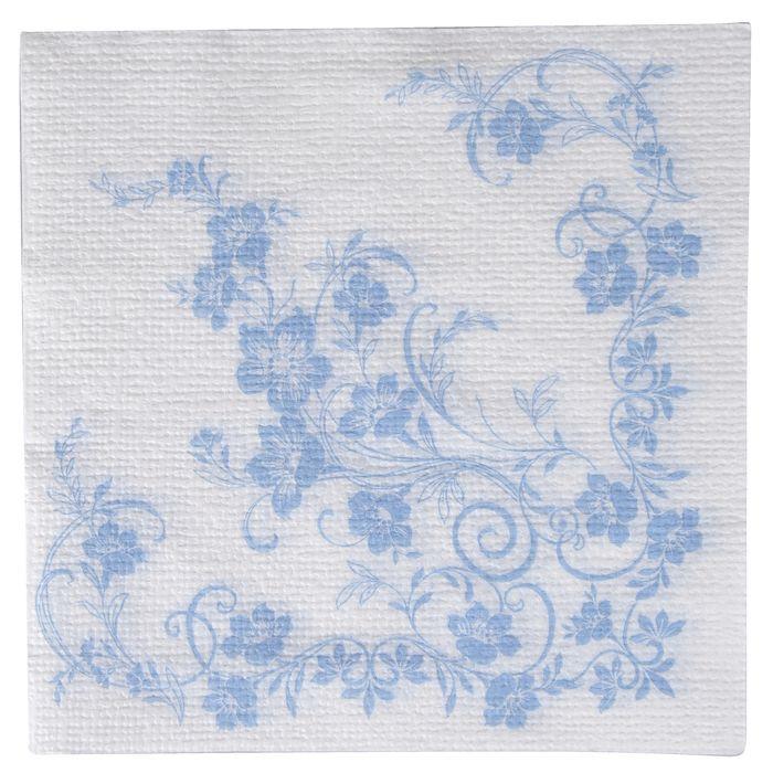 Frokostserviet, Katja, 1-lags, 1/4 fold, design, hvid/blå, papir, 33cm x 33cm