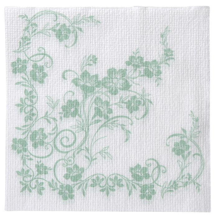 Frokostserviet, Katja, 1-lags, 1/4 fold, design, hvid/grøn, papir, 33cm x 33cm