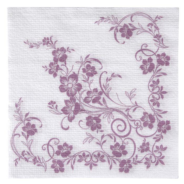 Frokostserviet, Katja, 1-lags, 1/4 fold, design, hvid/lilla, papir, 33cm x 33cm